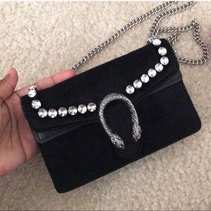 GUCCI Velvet Crystal Super Mini Dionysus Bag Black